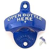 Wandflaschenöffner OPEN BOTTLE HERE orig. STARR-X aus den USA (blau)