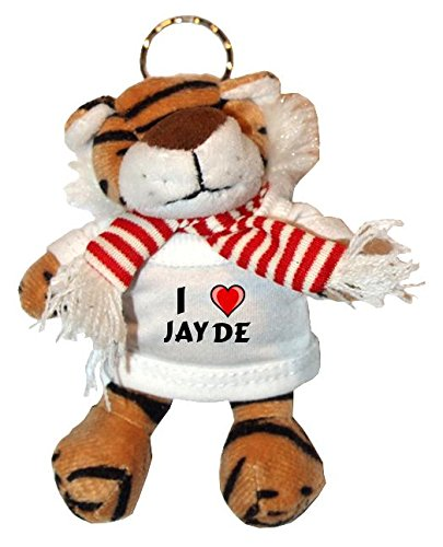 Jayde Bekleidung (Plüsch Tiger Schlüsselhalter mit T-shirt mit Aufschrift Ich liebe Jayde (Vorname/Zuname/Spitzname))
