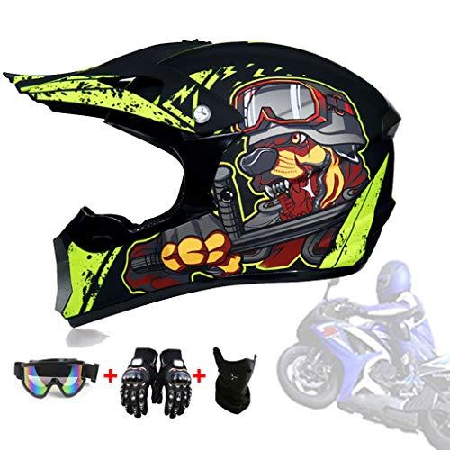 AMINSHAP Casco Quad Motocross, Casco Adulto off Road DOT Dirt Bike Motocross ATV Moto Offroad per Giovani Adulti Junior Bambini Bambini con Occhiali Maschera Guanti (Testa di Cane Gialla),L59~60cm