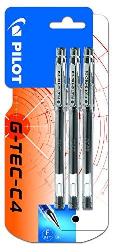 Pilot G-Tec C4Tintenroller Gel Micro, 0,4mm Spitze, 3 Stück schwarz