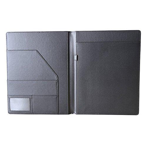 KINGFOM™ Leder Schreibmappe A4 , mit Stifthalter und Kartenhalter (Schwarz) (Taschenrechner Business Card Holder)