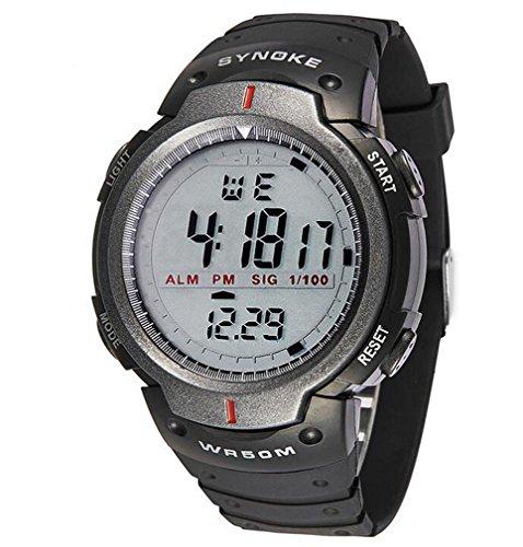 Oumosi Stecker LED Digital Uhr Military Wasserdicht Armbanduhr grau