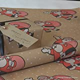 Natural Christmas Kraft Patterned Brown Gift Wrapping Paper - Novelty Santa (10 metres (rolled))