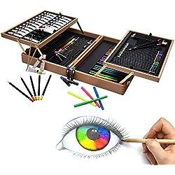 Artina Set de Pintura 127 Piezas Bologna maletín Madera óleos lápices de Colores Acuarelas acrílicos y lapiceros