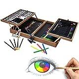 Artina A126 Coffret de Peinture en Bois MDF 127 Pieces Bologna - Pastels à l'huile, Crayons à Papier et de Couleurs, Aquarelle, Acrylique…
