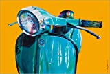 Canvas print 30 x 20 cm: Vespa yellow Popart by Renate Berghaus - ready-to-hang wall picture, stretched on canvas frame, printed image on pure canvas fabric, canvas print