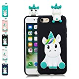 LA-Otter Apple iPhone 5 5S SE Hülle Silikon Ultra Dünn Slim Gummi Bumper Folie Schutzhülle Handyhülle Tasche Schale mit 3D Motiv Muster Schwarz Einhorn