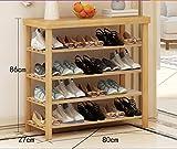 Zapatero para el hogar Zapatillas de bambú natural de los zapatos, asientos de banco, piso-montó el gabinete del zapato de 4 pisos, montaje multiusos calza el estante de almacenaje Armario de zapatos simple ( Tamaño : 80cm )