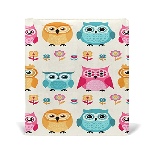 tizorax Cartoon Owls dehnbar Buch umfasst passend für die meisten Hardcover lehrbüchern. bis zu 9X 11. Klebstofffreie, PU Leder Schule Buch Displayschutzfolie. Leicht, um auf Jacke