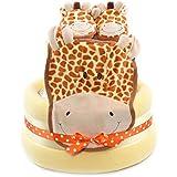 Girafe Safari Thème de douche pour bébé Unisexe Jaune Gâteau De Couches cadeau Panier–rapide et livraison gratuite.