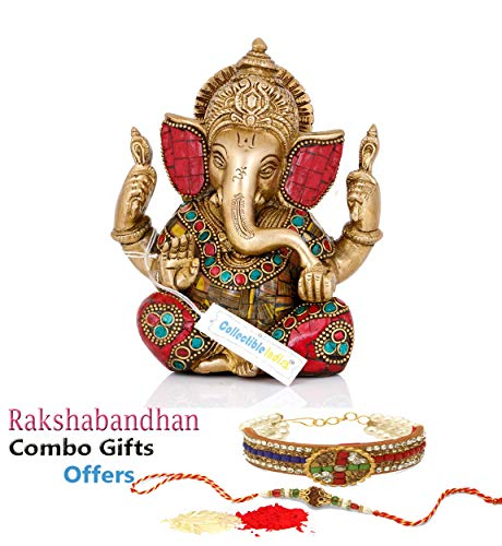 Collectible India 5.5″ Lord Ganesha Brass Statue | Hindu God Ganesh Ganpati Sitting Idol Sculpture with Rakshabandhan Rakhi Gift Combo for Bhaiya Brother Bhabhi,rakhi for bhabhi,bhaiya bhabhi rakhi set,rakhi gifts for brother and bhabhi,rakhi gifts,rakhi gift for brother combo 51QsPp74f2L