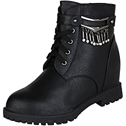 Authentic Vogue Women's Ankle- Length Wedge Heel Black Leather Boots 39 EU