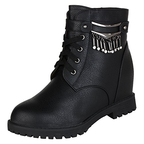 Authentic-Vogue-Womens-Ankle-Length-Wedge-Heel-Black-Leather-Boots