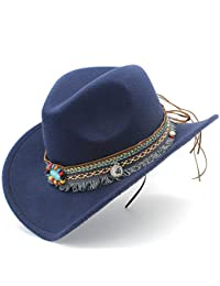 5e2b81855e9 YINUO Hat Fashion Women Men Western Cowboy Hat for Lady Tassel Felt Cowgirl  Sombrero Caps