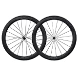 ICAN Roues Vélo de Route Carbone Pneu Tubeless Ready 55mm Straight Pull Novatec Moyeux 1590g