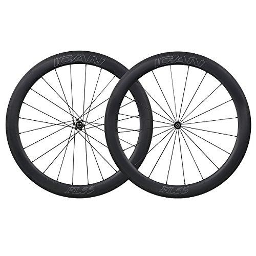 ICAN Roues Vélo de Route Carbone Pneu Tubeless Ready 55mm Straight Pull Novatec Moyeux 1590g