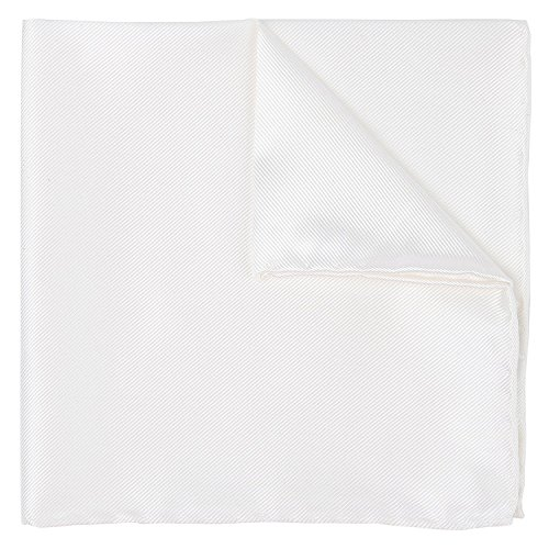 100% Silk Twill White Pocket Square Signature Collection Gift Boxed by Puentes Denver