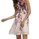Gonne delle donne Koly_Abiti Casual breve estate delle donne floreale girocollo taglio Abito senza maniche Out (Asian Size:L, White)