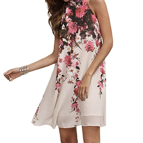 Koolee Kleid Sommer Kurze Kleider Freizeit Damen Geblümt Runder Ausschnitt Ärmelloses Kleid, Chiffon, weiß, Large (Kleid Kleidung Puppe Geblümtes)