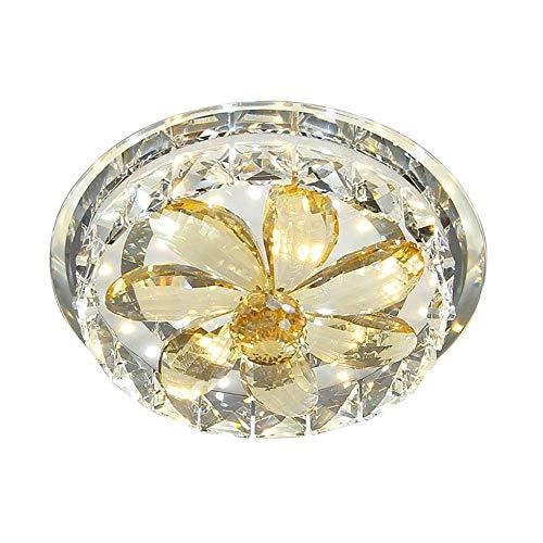Oevina Modern Mini K9 Kristall Deckenleuchte, Unterputzmontage in der Nähe der Decke Runde LED 12w Dekoration Leuchten für Flur Wohnzimmer dimmbar 20cm (Color : Warm Light, Size : 20cm) -