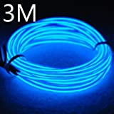 Efrank 3M EL Wire EL Kabel Neon Beleuchtung leuchtschnur für Weihnachtsfeiern Rave Partys Halloween Kostüm +Batterie Box (3M, Blau)