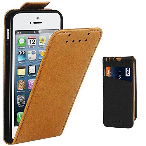 iPhone 5 Hülle, iPhone 5S Hülle, Supad Leder Tasche für Apple iPhone 5 5S SE Handyhülle Flip Case Schutzhülle (Braun) (Iphone 5s Braun Leder Flip Case)