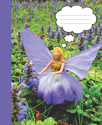 Periwinkle Blue Bee Balm Flower Fairy Wide-ruled Lined School Blank Composition  Notebook (Wide-lined Fairy Books: School Supplies, Band 1) - Bee Balm