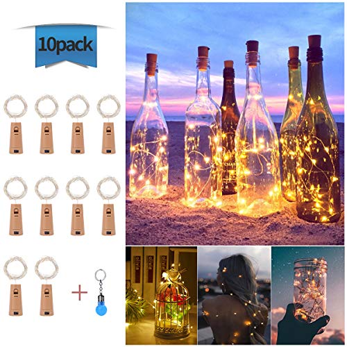 Luces de Botella de Vino, Cadenas Luces para Botella de Luz, DIY Guirnaldas Luces Led Románticas para Boda, Navidad, Fiesta, Hogar, Exterior, Jardín, Terraza, Dormitorio, Blanco Cálido, 10*20 LED, 2M
