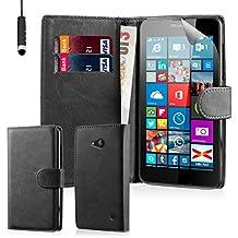 32nd® Funda Flip Carcasa de Piel Tipo Billetera para Microsoft Lumia 640 con Tapa y Cierre Magnético y Tarjetero - Negro
