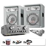 "800 Watt DJ PA Komplettanlage White Star ""Grönland Deluxe"" PA-Lautsprecher + Kompakt Verstärker + Mikro"