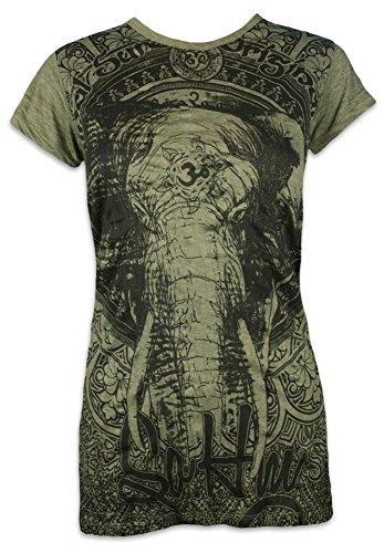 SURE Damen T-Shirt Ganesha OM Symbol Elefanten-Gott Indien Hinduismus Religion Goa (Olive Grün L)