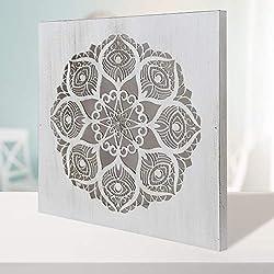-Cuadro Mandala de Pared Calada, Fabricada artesanalmente en España- Mandala 3D Cuadrada Pintada a Mano- Modelo Mosaico 125 (Blanco Envejecido, 50x50 cm)