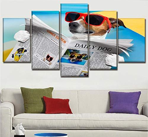 Leinwandbild 5 Stücke Sehen Zeitung Sommer Sonnenbrille Poster HD Drucken Wohnkultur Kinderzimmer Wandkunst Humor Hund Malerei Rahmen