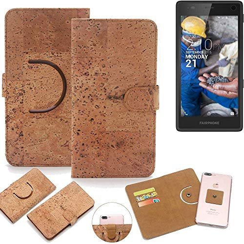 K-S-Trade Schutz Hülle für Fairphone Fairphone 2 Handyhülle Kork Handy Tasche Korkhülle Handytasche Wallet Case Walletcase Schutzhülle Flip Cover Smartphone