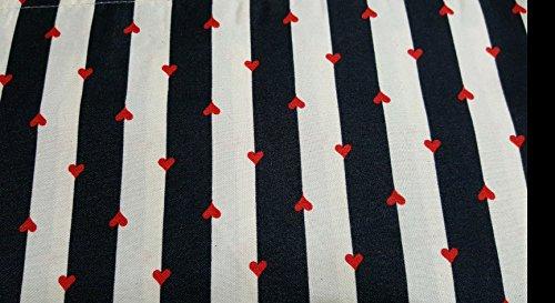 Betsey Johnson Wonderland Stripe Hearts Ivory Black Sheet Set (Queen)