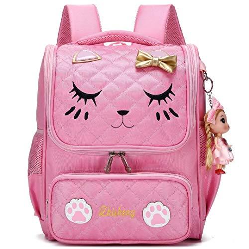 Zaino per ragazze scuola per scuola elementare Zaini per gatti scuola ricamo per bambini (Rosa Grande, Grande)