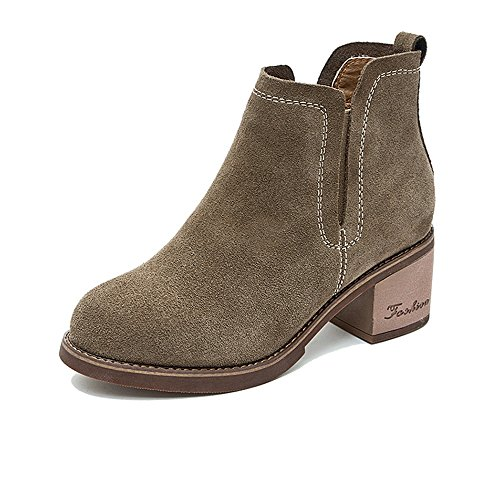 HAIZHEN Damen Mädchen Booties Damen Stiefel Herbst Winter Casual Kleid Chunky Heel Schwarz Khaki 2.36 In (6cm). Für 18-40 Jahre alt ( Farbe : Khaki , größe : EU36/UK3.5/CN35 ) (Socken Mitte Höhe Schuhe)