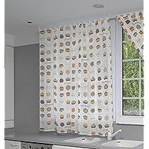 Maison Decor Biscuit Cortina Trabilla Oculta, Acrílico, blanco, 140 x 220 cm