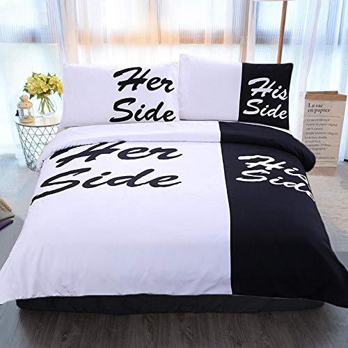 bed linings Bettwäsche-Set 3D His Her Side Printing 3-teiliges Bettwäscheset 100% Mikrofaser Für Geschenk (1 Bettbezug + 2 Kissenbezüge) Black-Queen(228cm*228cm)