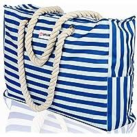 SHYLERO Beach Bag XXL. Waterproof (IP64). L22 xH15 xW6 w Cotton Rope Handles, Top Zipper, Outside Pockets. Beach Tote Includes Waterproof Phone Case, Built-in Key Holder, Bottle Opener Large blue