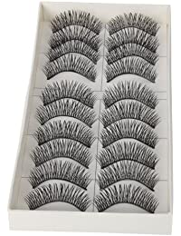 niceEshop(TM) Handcraft Thick Wispies Natural Elongated Cross False Eyelashes, Set of 10 Pairs