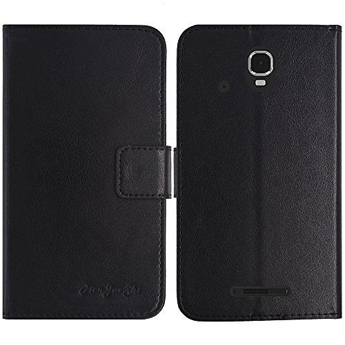 TienJueShi Schwarz Flip Book-Style Brief Leder Tasche Schutz Hulle Handy Case Abdeckung Fall Wallet Cover Etui Skin Fur Archos Sense 47x 4.7 inch