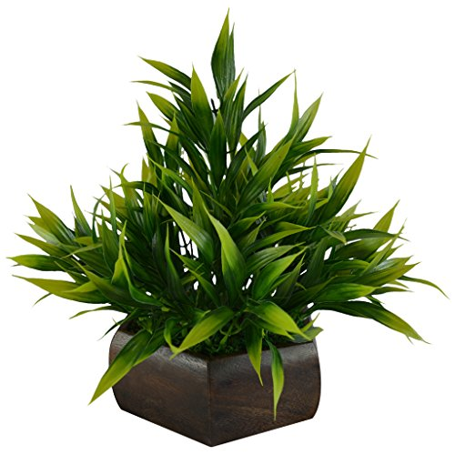 Thefancymart Artificial Bamboo leaves plant (size 7.5 inchs/ 20 cms) with wood Hexagun pot-0235-888
