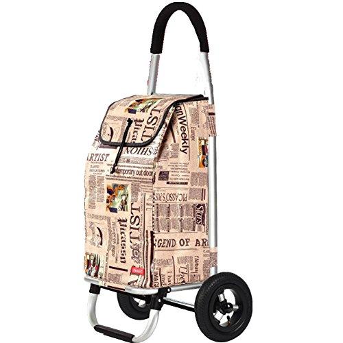Chariot de courses 2 Roues Gonflable Pliable,Résistant À L'usure Plie Facilement Haute Qualité Légère Sac Grande Capacité De 55L,Newspaperpattern