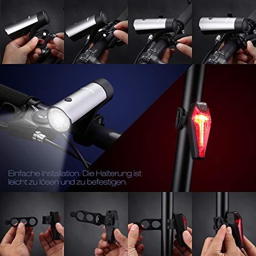 Poweradd StVZO zugelassen LED Fahrradlicht Set, inkl. Frontlichter und Rücklicht, Wiederaufladbare Fahrradbeleuchtung Set mit hellen Leuchten und Einfacher Installation, energiesparend, Regen- und Stoßfest - 6