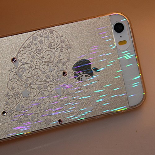 Durchsichtig Huelle für iPhone 5S, Felfy luxus Ultra Slim Bling Shiny Sparkle Diamant Dünnen Apple iPhone 5S 5 Cool Love Heart Muster Weiche Flexible Gel TPU Handy Tasche Back Case Cover Protective Zu Love Heart