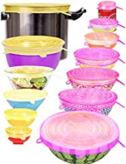 Silicone Stretch Lids Reusable Durable - Pack of 13 Pieces Expandable Silicone Food Covers Bowls Cups Shape Co