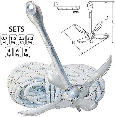 Conjunto de anclaje - ancla de plegado fijo de acero galvanizado y una cuerda resistente a la rotura 30m