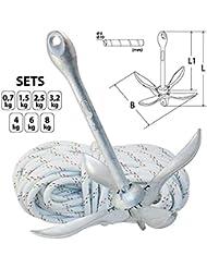 Conjunto de anclaje - ancla de plegado fijo de acero galvanizado y una cuerda resistente a la rotura 30m (1,5 kg)