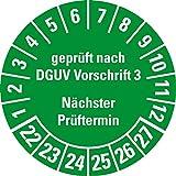 LEMAX® Prüfplakette gepr. DGUV Vorschrift 3 NP 22-27,grün,Dokufolie,Ø 30mm,500/Rolle
